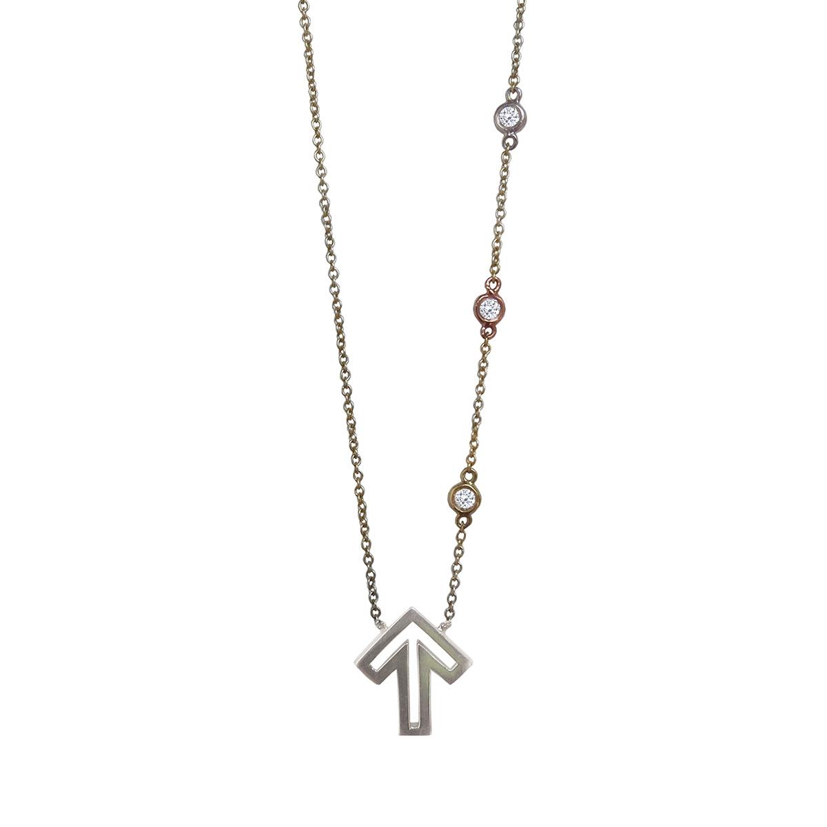 Golden Thread Journey 2 A Cure Open Arrow Necklace, Silver