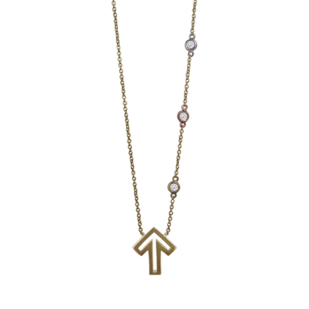 Golden Thread Journey 2 A Cure Open Arrow Necklace - 14k Gold