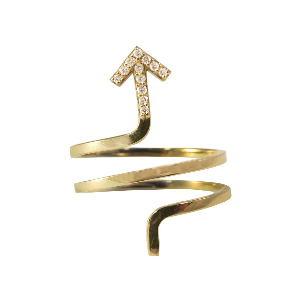 Golden Thread My Journey Ring, 14k Gold & White Diamond Tip