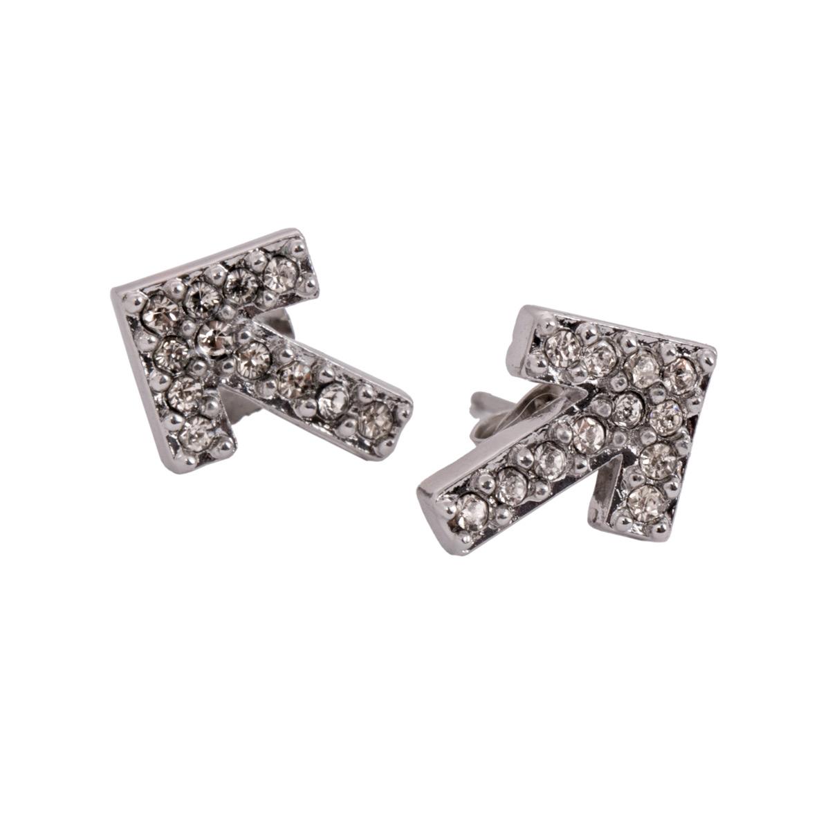 SU2C Devon Leigh Gun Metal Plated Crystal Arrow Stud Earrings