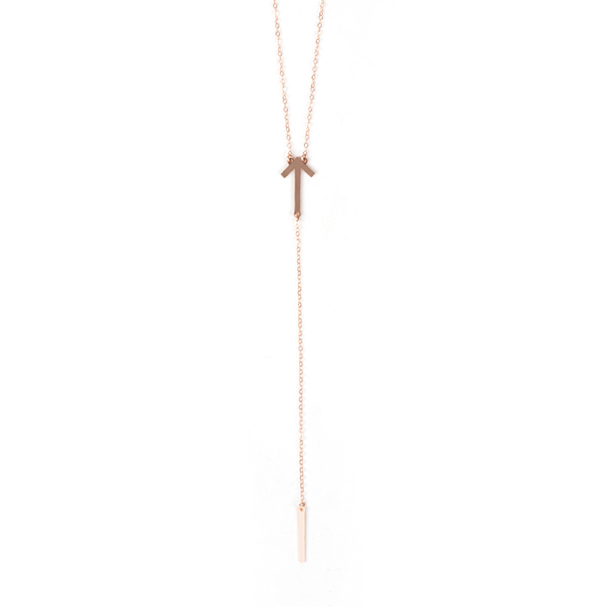 SU2C Stand Up Lariat Necklace (Rose Gold)