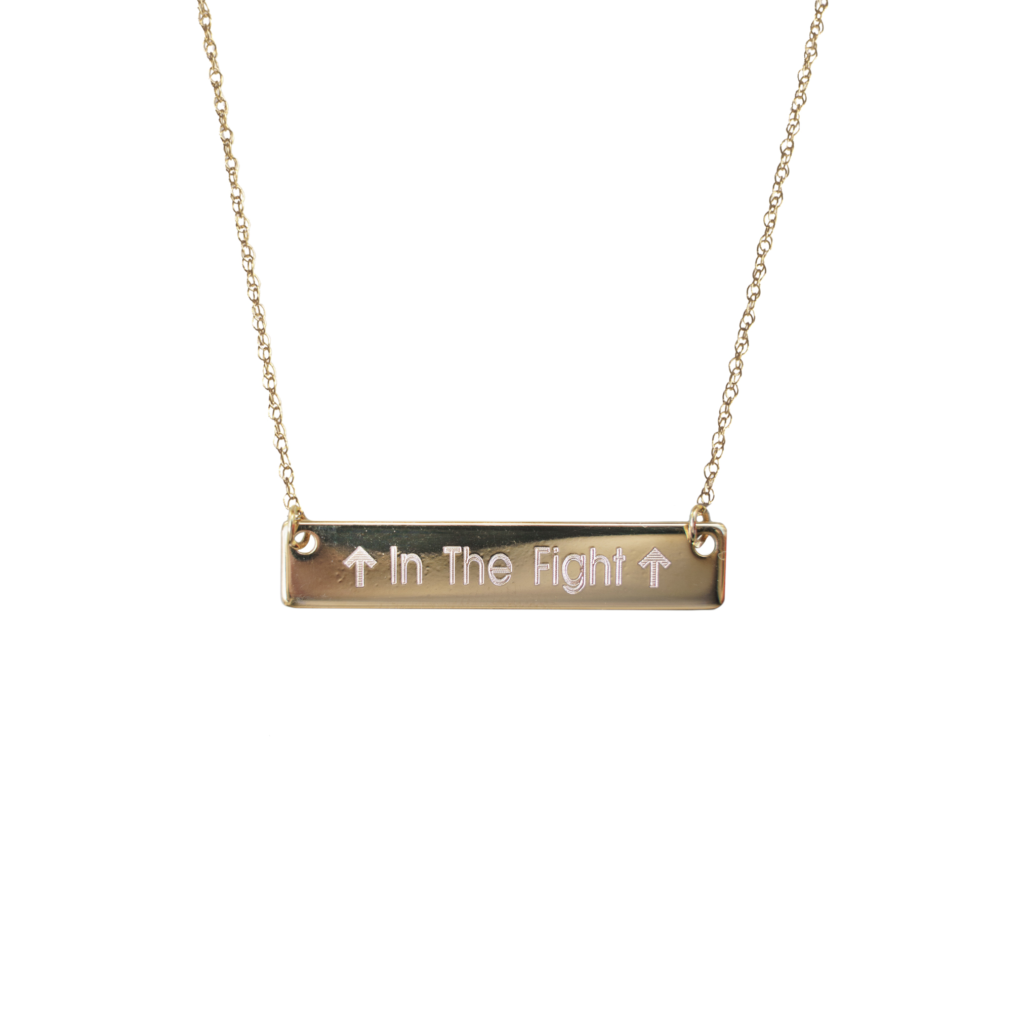 Golden Thread In the Fight Bar Necklace