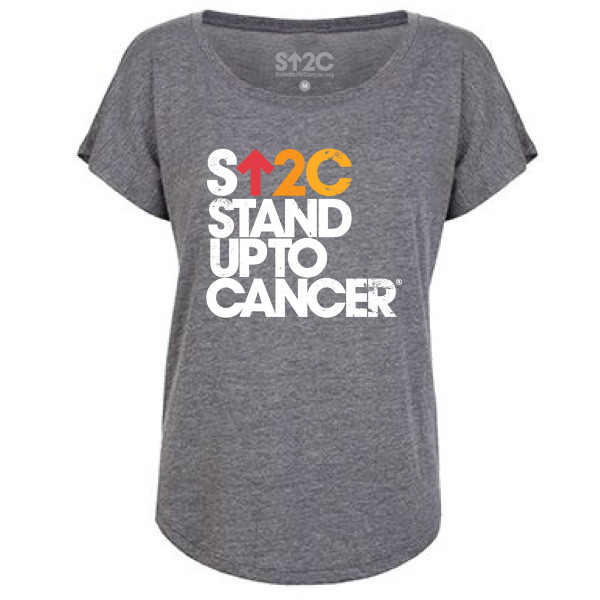 SU2C Women's Distressed Stacked Logo Triblend Dolman, Premium Heather Grey