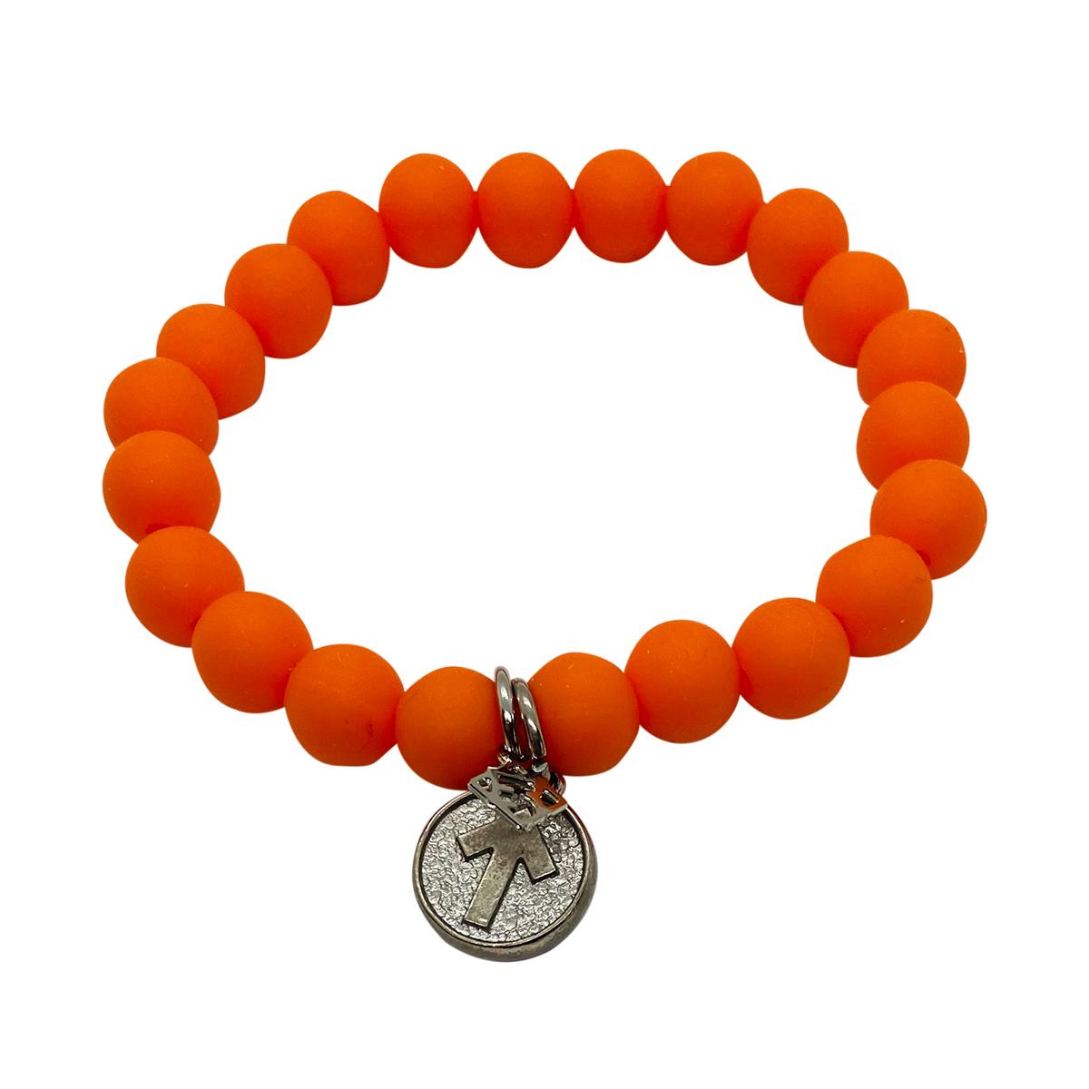 Elyse Ryan SU2C Orange Silicone Beaded Bracelet