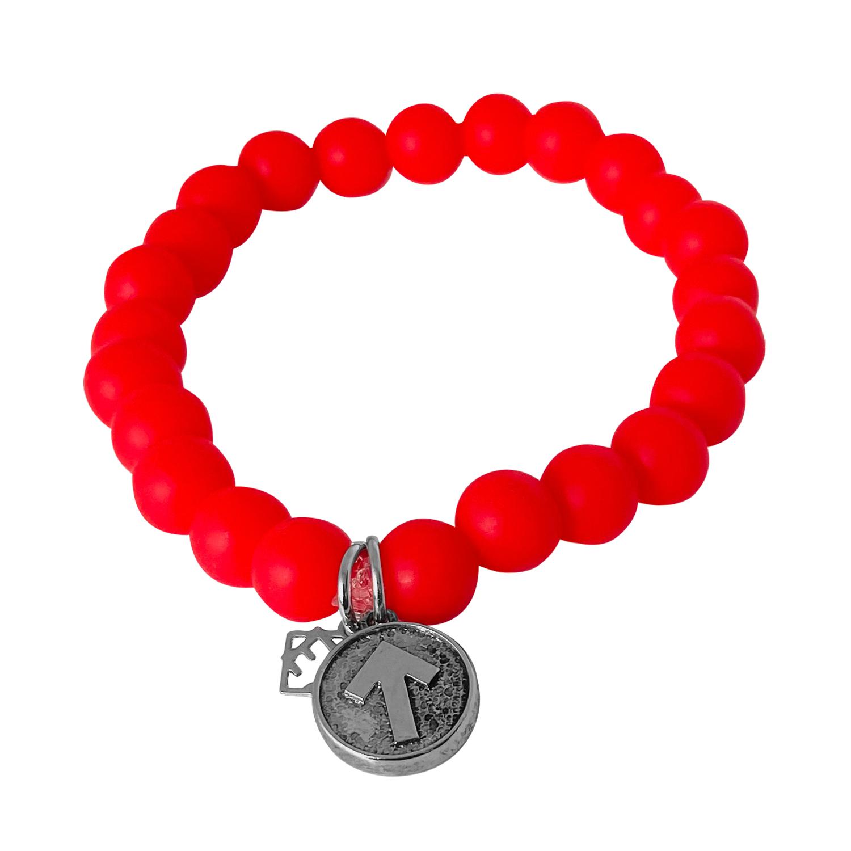 Elyse Ryan SU2C Red Silicone Beaded Bracelet