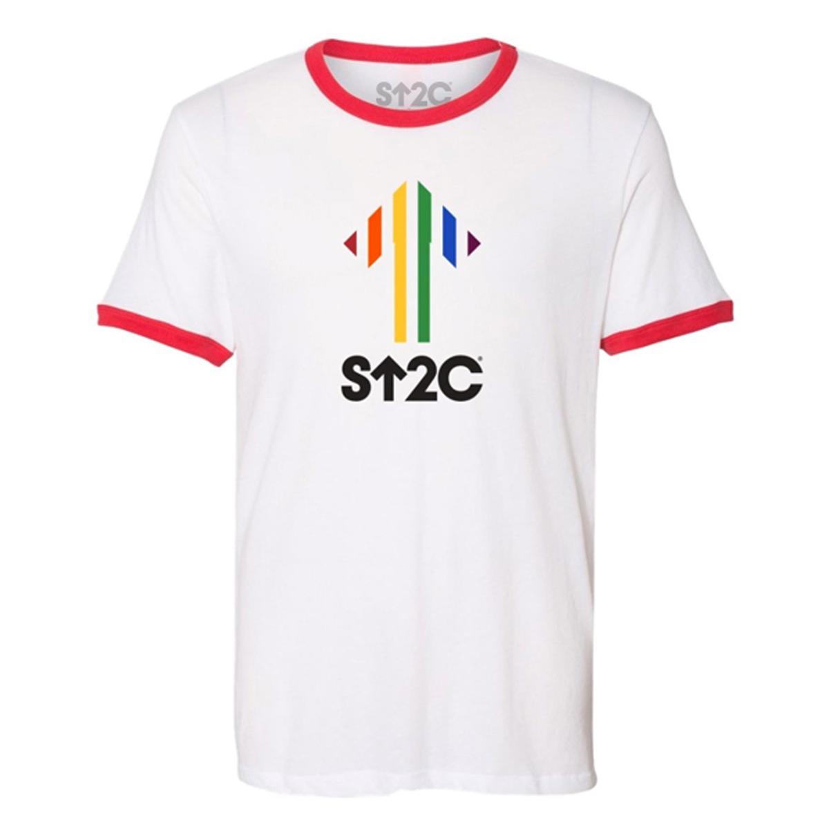 SU2C Pride Rainbow Stripe Ringer T-shirt
