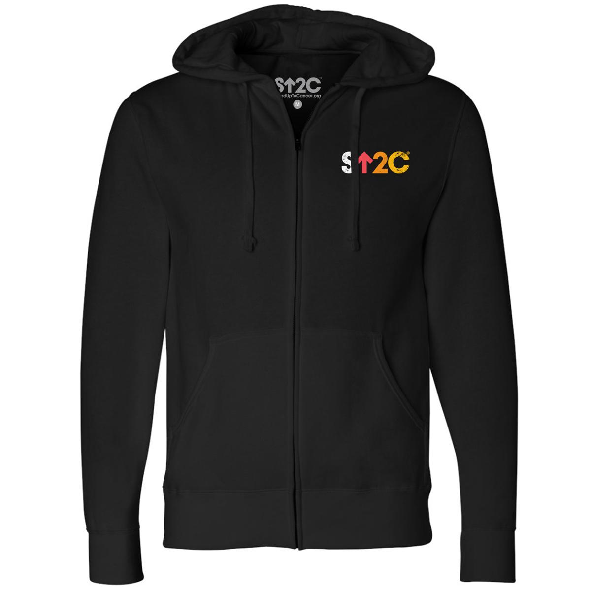 SU2C Unisex Distressed Short Logo Zip Up Hoodie, Black
