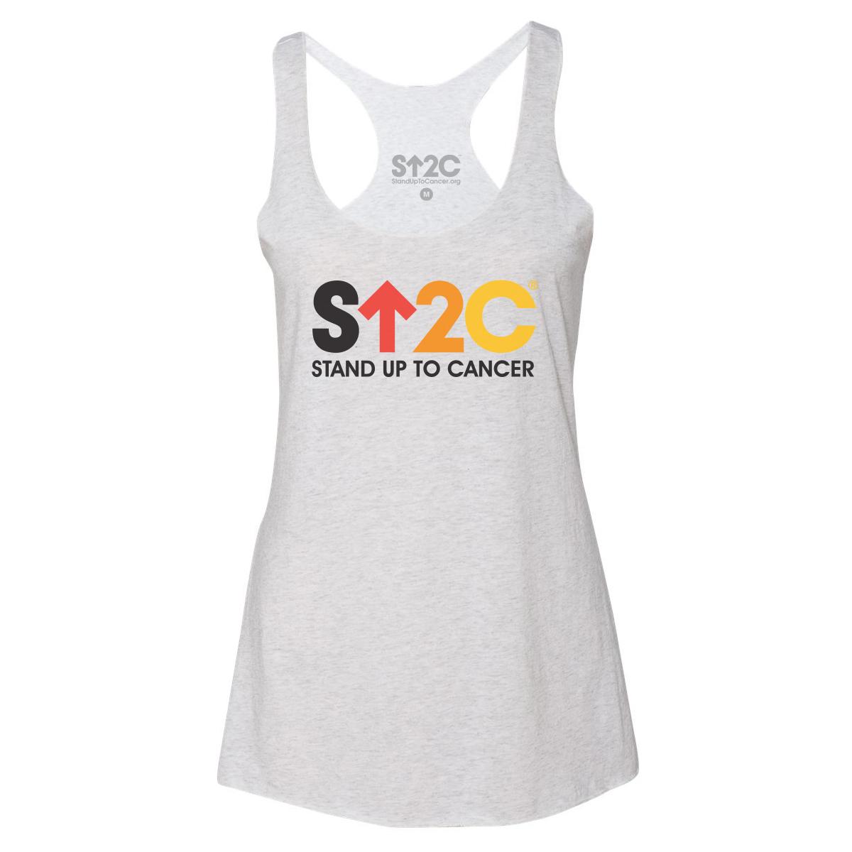 SU2C Short Logo Women's Racerback Tank (Heather White)