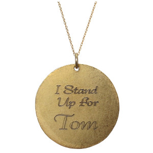 Golden Thread Stand Up Strong Personalized Pendant Necklace, Gold