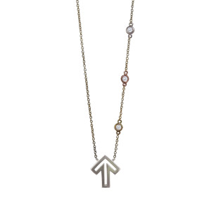 Golden Thread Journey 2 A Cure Open Arrow Necklace, Silver