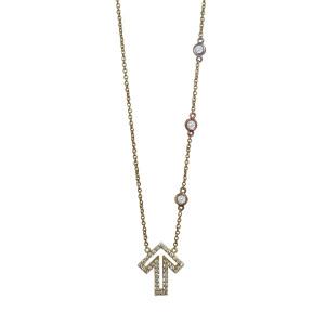 Golden Thread Journey 2 A Cure Open Arrow Diamond Necklace