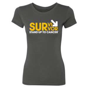SU2C Women's Survivor T-Shirt, Dark Grey