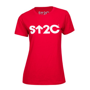 SU2C Women's Short Logo Boyfriend T-shirt, Red