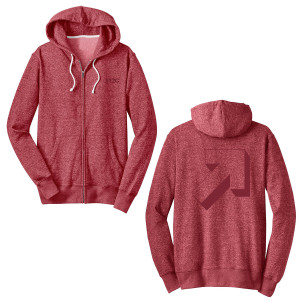 SU2C Graphic Arrow Marled Fleece Zip Unisex Hoodie, Red