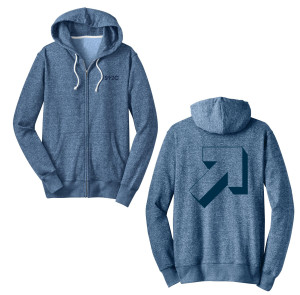 SU2C Graphic Arrow Marled Fleece Zip Unisex Hoodie, Blue