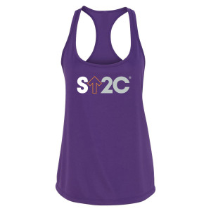 SU2C Women's Short Logo Performance Racerback Tank, Purple