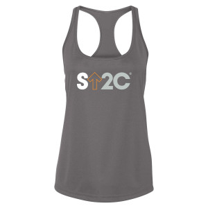 SU2C Women's Short Logo Performance Racerback Tank, Grey