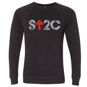 SU2C Men's Distressed Short Logo Crew Neck Sweatshirt, Black