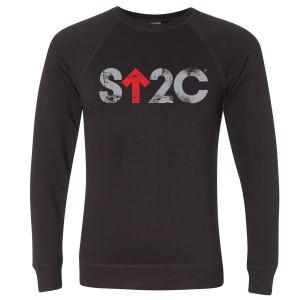 SU2C Men's Distressed Short Logo Crew Neck Sweatshirt, Black