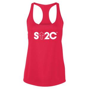 SU2C Women's Short Logo Performance Racerback Tank, Red