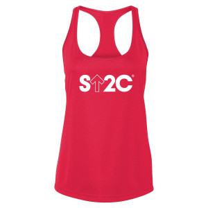 SU2C Women's Short Logo Performance Racerback Tank, Red