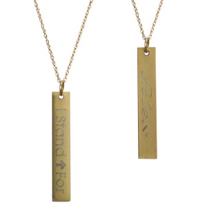 Stand Up Together Antique Gold Personalized Necklace