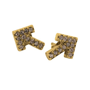 SU2C Devon Leigh Crystal Arrow Stud Earrings (Gold)