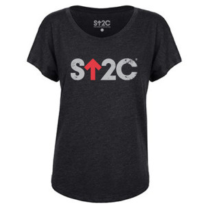 SU2C Women's Distressed Short Logo Triblend Dolman, Vintage Black