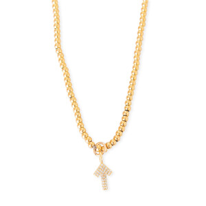Gold Beaded Necklace with Pave SU2C Arrow Charm