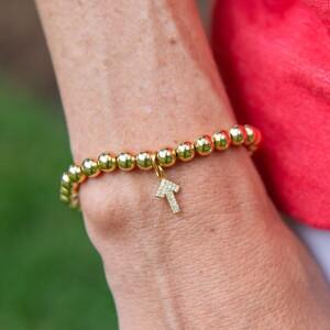 Gold Beaded (6 mm) Bracelet with Pave SU2C Arrow Charm