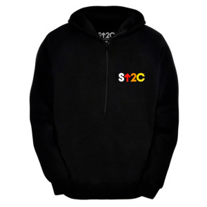 SU2C Unisex Short Logo Hooded Half Zip Pullover, Black