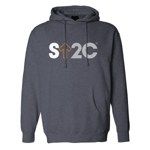 SU2C Men's Short Logo Pullover Hoodie, Grey