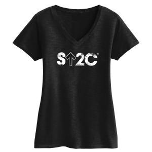 SU2C Women's Short Logo Slub V-Neck, Black