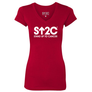 SU2C Short Logo Women's V-Neck T-Shirt, Red
