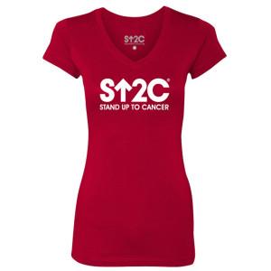 SU2C Short Logo Women's V-Neck T-Shirt, Red