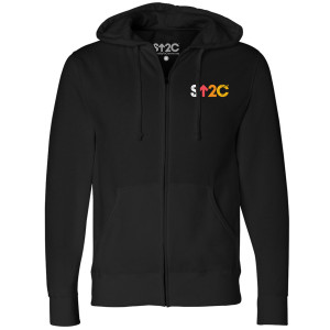 SU2C Unisex Distressed Short Logo Zip Up Hoodie, Black
