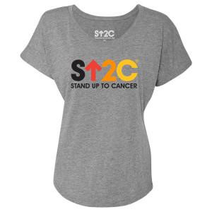 SU2C Short Logo Women's Dolman T-Shirt, Heather Grey