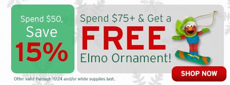 Free Elmo Ornament!