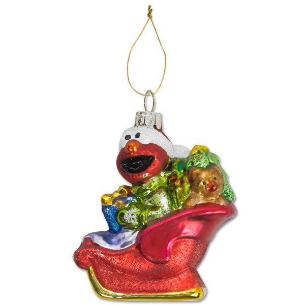 Elmo Sleigh Glass Ornament