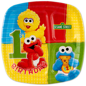 Sesame Street 1st Birthday Pocket Dinner Plate