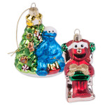 Elmo & Cookie Monster Glass Ornaments