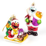 "5"" Elmo & Cookie 2 pc. Glass Ornaments"