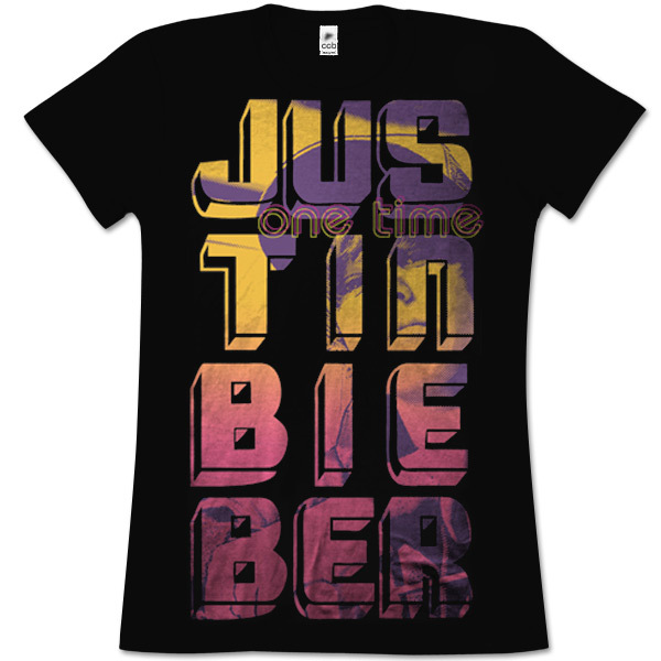 Black girls t-shirt features Justin Bieber vertical logo with image in