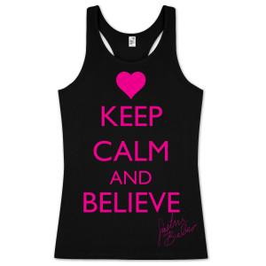 Justin Bieber Keep Calm and Believe Juniors Tank