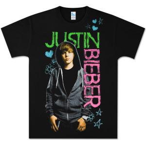 Justin Biebershirts on Justin Bieber  T Shirts     Justin Bieber Black Felt Pen Logo T Shirt