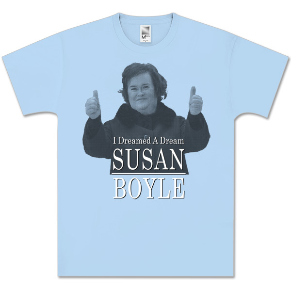 Susan Boyle Dreamed Half Tone Photo Light Blue T-Shirt