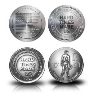 1791 D-Day Flag Coin and Hard Times Made Us Coin Bundle