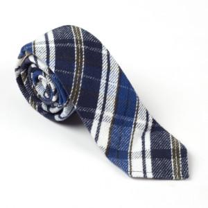 "Blue | White Flannel Cotton Tie - 3"""
