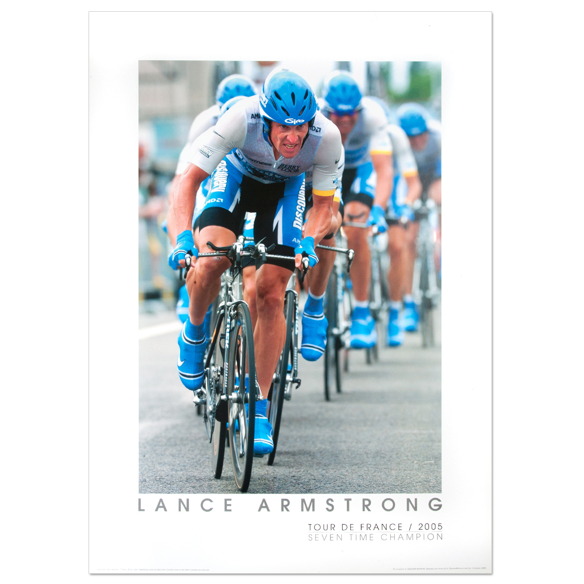 2005 Tour de France - Lance Armstrong, Team Time Trial Framed Mini Poster