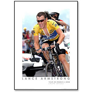 2004 Tour de France - Lance Armstrong at L'Alpe d'Huez Framed Mini Poster